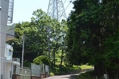 送電線の鉄塔手前を右へ