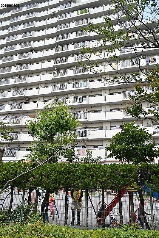 緑道西側の高層マンションの1階にある保育園。