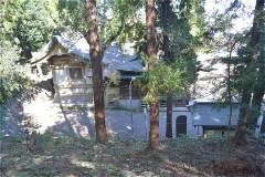 尾根道の右側をのぞき込むと、子之神社本殿が見える。